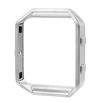 GerTong Marco para la protección de Fitbit Blaze, Metal Reloj de Acero Inoxidable Titular de Fitbit Blaze Caso de la Cubierta Protectora (Plata)