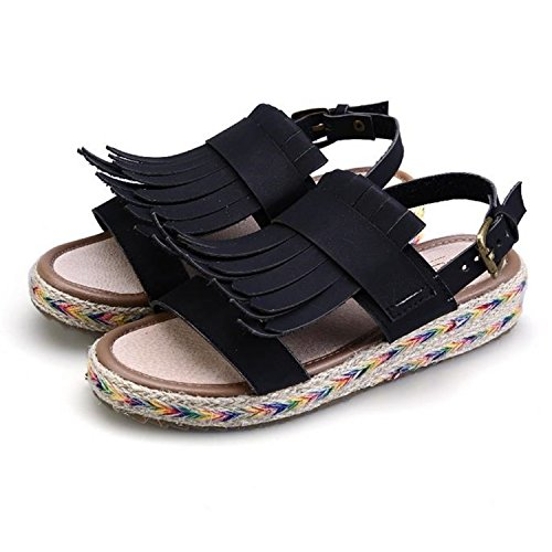 4in 500 Straws - Feilongzaitianba Tassel Straw Black White Green Gladiator Sandals Shoes Women's Open Toe Sandals Bohemia Flat Sandals Black Sandals 4.5