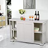 kitchen accent cabinet - Yaheetech Antique White Sliding Door Buffet Sideboard Stackable Cabinets Kitchen Dining Room Storage Cupboard
