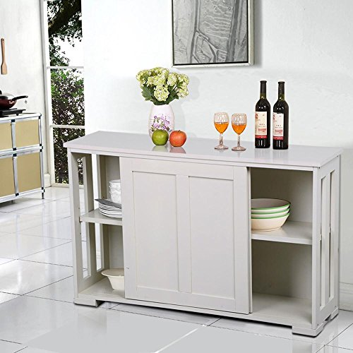 Yaheetech White Sliding Door Buffet Sideboard Stackable Cabinets Kitchen Dining Room Storage (Pine Cabinet Doors)