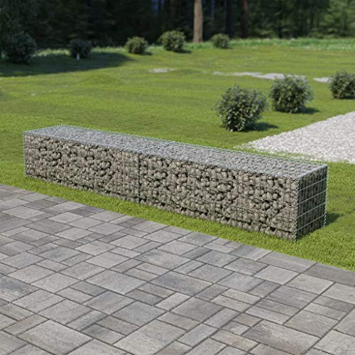 Festnight Outdoor Gabion Wall Stone Basket Patio Garden Decoration Galvanized Steel 118