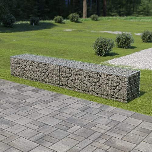 """Festnight Outdoor Gabion Wall Stone Basket Patio Garden Decoration Galvanized Steel 118""""x19.7""""x19.7"""""""