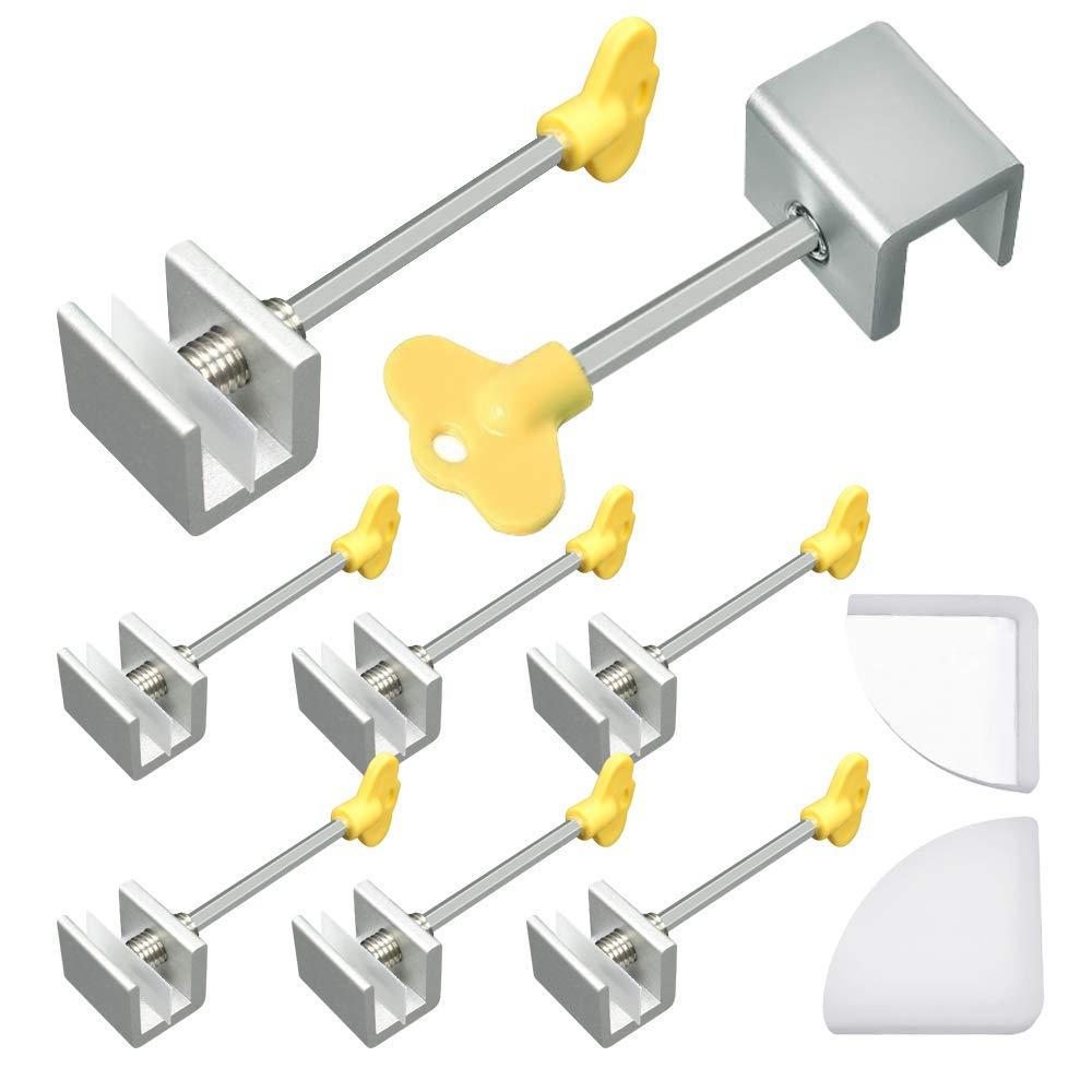 SelfTek Juego de 8 cerraduras ajustables para ventana marco de seguridad con llave y 2 cubiertas de esquina de silicona: Amazon.es: Bricolaje y herramientas