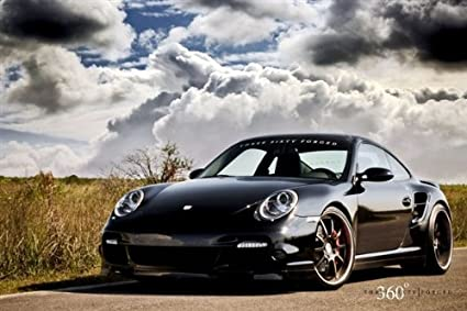 Porsche 911 997 TT Left Front Black on 360 Forged wheels HD Poster 24 x 16
