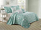 queen quilt birds - Serenta 6 Piece Bird Song Printed Microfiber Quilts Coverlet Set, Queen, Teal Turquoise