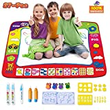 PP Honey WDM-2018-09 AquaDoodle Mat Kids Toys, Colorful Aqua Magic Mat 5 Water Pens & 16 Molds Kids Gift Water Drawing Mat is Good Toddlers Education in Painting Water Doodle Mat, Birthday Gift