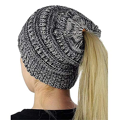 Heyuni.1PC Womens Warm Cable Knitted Messy High Bun Hat Beanie with Hole for Pony Tail Skull Cap,Black&White
