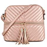 Quilted Pattern Lightweight Medium Dome Crossbody Bag with Tassel | Rose Gold