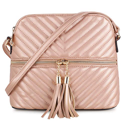 Quilted Pattern Lightweight Medium Dome Crossbody Bag with Tassel   Rose Gold (Patterns Bag Quilted)