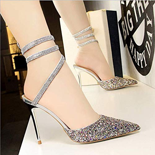 Velvet Heeled With High Shoes Shoes Crystal Winding Women'S Color Pointed Snake High heels Shaped Versatile Yukun qPUxvEzwv
