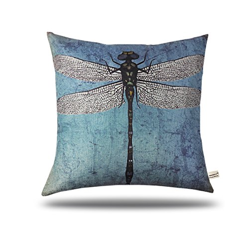 - ONWAY Vintage Turquoise Blue Dragonfly Throw Pillow Case Decorative Square Outdoor Pillow Cover 18 x 18 inch, 1 Pack