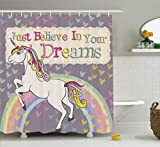 Teen Girls Decor Shower Curtain by Ambesonne, Unicorn With 'Believe In Your Dreams' Inspiring Quotes Illustration, Fabric Bathroom Set with Hooks, 84 Inches Extralong, Lilac and Beige
