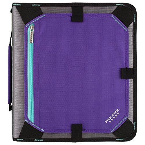 (Five Star 2 Inch Zipper Binder, 3 Ring Binder, Expansion Panel, Durable, Purple/Black/Aqua/Gray (29052BD7))