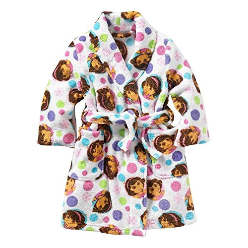 Dora Sparkles! Toddler Girl's 2T Polka Dot Plush Fleece Bathrobe, - Dora Bedtime