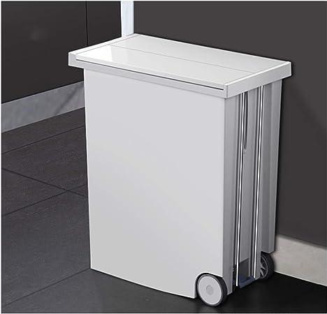 Cubo De Basura Cocina Baño, Reciclaje Extraíble Tapas Pedal Alto Delgado 20L, para Oficina Hogar Jardín Habitación Interior, Blanco: Amazon.es: Hogar