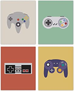 HUYAW Colorful Retro Video Game Controller Gamer Wall Art Prints Set of 4, Gamer Posters Gifts for Men Teen Boys Game Room Home Bedroom Wall Art Decor (8 x 10 Unframed)