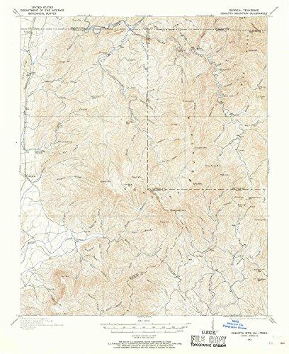 YellowMaps Cohutta MTN GA topo map, 1:62500 Scale, 15 X 15 Minute, Historical, 1911, 20.7 x 16.9 in - Polypropylene (Ga Cohutta)