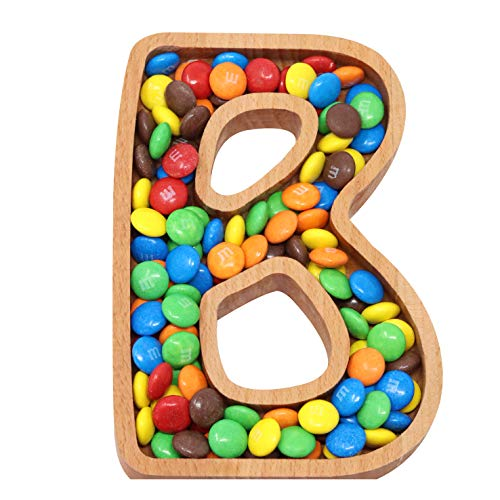 Wooden Letter B Candy Dish, Monogram Nut Bowl, Snack, Cookie, Cracker Serving Plate, Decorative Display, Home Accessory, Unique Gift Idea, for Date, Baby Shower, Birthday Party, Small Size