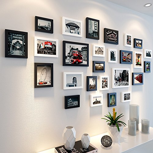 Photo frame wall Photo wall European creative combination restaurant picture frame wall decoration photo wall 26 box Photo Wall ( Color : Black and white ) by Photo Frame Set