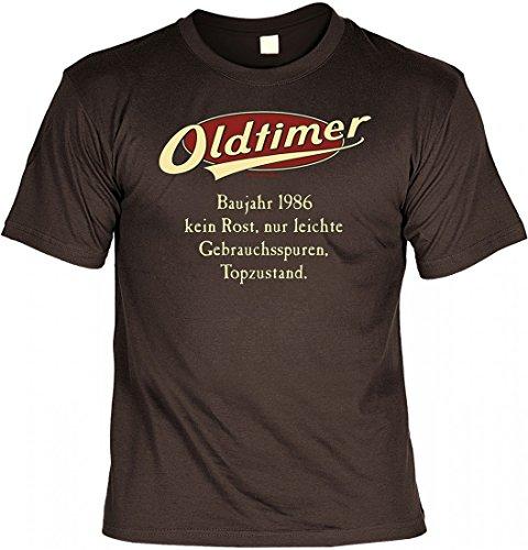 Birthday Shirt - Oldtimer Baujahr 1986 - Lustiges T-Shirt als Geschenk zum Geburtstag - Braun