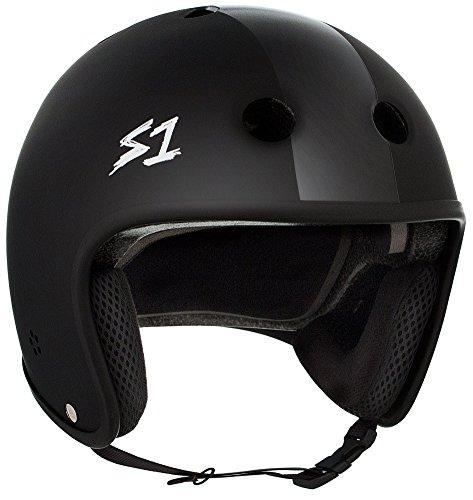 S-ONE Retro Lifer CPSC - Multi-Impact Helmet -Black Matte w/Black Stripes - Medium (21.5