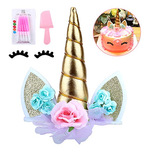 (Unicorn Birthday Cake Topper with Eyelashes&Candles & Cake Cutter,Unicorn Cake Decorations for Girls Birthday Party, Wedding, Baby Shower, 5.8)