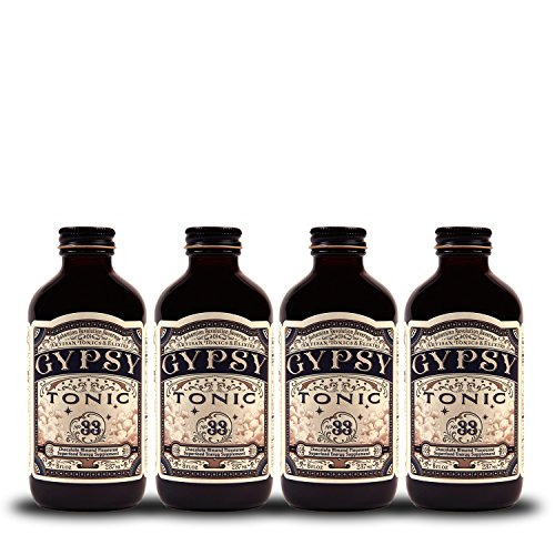Gypsy Tonic - Energizing, Detoxifying Artisan Tonic & Elixir - Chocolate Almond Flavored Health Supplement No. 33 - 8fl oz (4 PACK) (Bohemian Revolution)