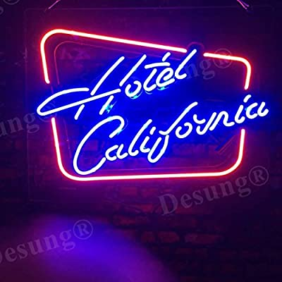 Desung Hotel California Custom Design Decorated Acrylic Panel Handmade Man Cave Neon Sign Light UT64