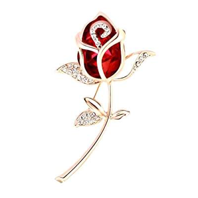 zhenleisier Brooch Pin,Women Vintage Fashion Rose Flower Rhinestone Inlaid Lapel Brooch Pin Sweater Shirt Dress Pants Scarf Lapel Denim Jacket Collar Bag Badge Breastpin X-mas Gift Red: Kitchen & Dining