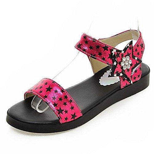 Stars Rose Sandals Fashion Printing Heels Flat LongFengMa with Women's YqOwTggA