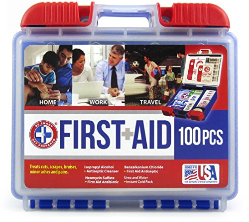 .Be Smart Get Prepared 100 Piece First Aid Kit, Clean, Treat and Protect Most Injuries with The kit That is Great for Any Home, Office, Vehicle, Camping and Sports. 0.71 Pound