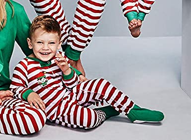 Amazon.com: Family Matching Pajamas - HUPLUE Christmas Family Sleepwear Pajamas Set for Mother/Father/Child/Baby, Red Topwear& Green Stripe Pants: Clothing