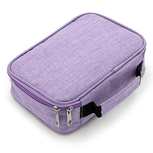 - BTSKY High Capacity Zipper Pens Pencil Case- Multi-Functional Stationery Pencil Pouch 72 Slots Colored Pencil Case Portable Pencil Bags with 2 Removable Sleeves(Purple)