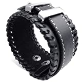KONOV Wide Leather Mens Bangle Cuff Bracelet, Punk Rock, Fits 7.5