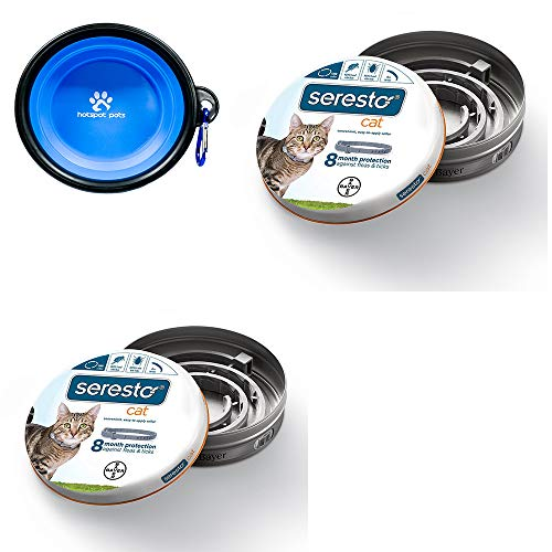 Bayer Seresto Flea and Tick Collar for Cat, all weights, 2 Pack With HS Pets Collapsible Pet Bowl