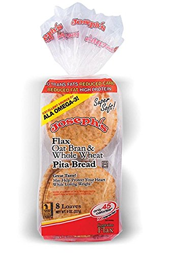 3 Pack Joseph's Flax, Oat Bran and Whole Wheat Flour MINI Pita Bread (Low Carb) by Joseph's Middle Eastern Bakery