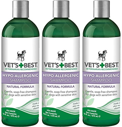 (3 Pack) Vet's Best Hypo-Allergenic Dog Shampoo for Sensitive Skin, 16 oz Per Bottle