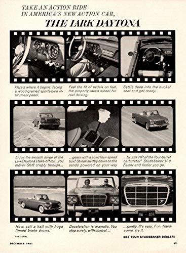 - 1962 STUDEBAKER LARK DAYTONA CONVERTIBLE * Take an action ride in America's new action car.* VINTAGE NON-COLOR AD - USA - GREAT ORIGINAL !! (SCG1261)