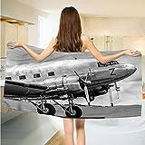 alisoso Vintage Airplane Bathroom Towels Old Airliner Cockpit Antique Engine Propellers Wings and Nostalgia Image Towels Set Grey Black