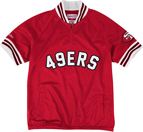 Mitchell & Ness Championship Win 1/4 Zip Mesh Pullover (S, Red, San Francisco 49ers)