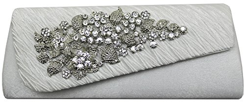 HotStyleZone gorgeous lady's diamante evening party prom clutch bags floral brooch 15 colours Ivory