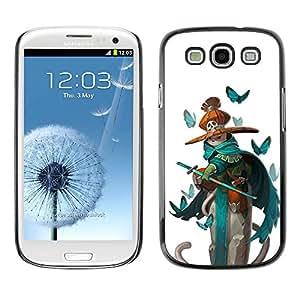 Paccase / SLIM PC / Aliminium Casa Carcasa Funda Case Cover para - pirate teal sword kids butterfly white - Samsung Galaxy S3 I9300