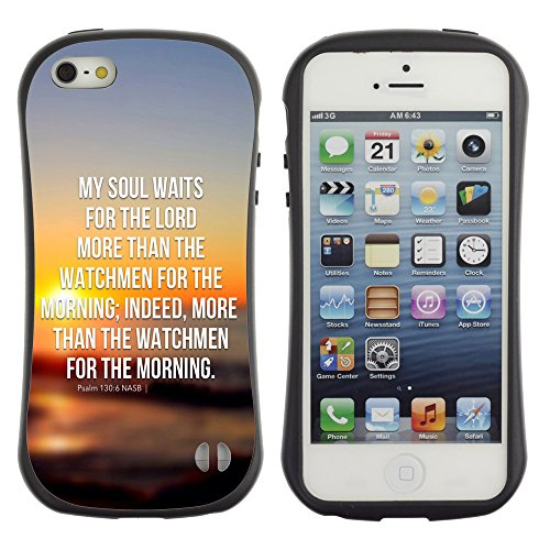 DREAMCASE Citation de Bible Silicone et Rigide Coque Protection Image Etui solide Housse T¨¦l¨¦phone Case Pour APPLE IPHONE 5 / 5S - MY SOUL WAITS FOR THE LORD - PSALM 130:6