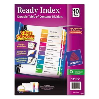 Ready Index Contemporary Table of Contents Divider, 1-10, Multi, Letter, Total 36 ST