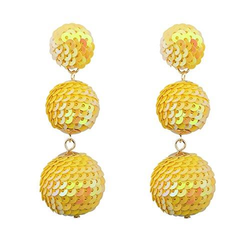 COIRIS Lemon Sequin Statement Ball Dangle Stud Drop Earrings For Women (ER1084-AB Lemon) ()