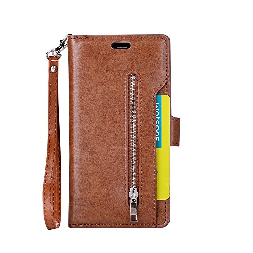 Galaxy S7 Edge Wallet Case, Leather [9 Card slots] [photo & wallet pocket] (Brown)