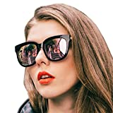 Mirrored Sunglasses for Women, Retro Oversized Frame with UV400 Protection, Anti Glare, Anti Reflective and Polarized Lenses (Rose Gold Mirrored Lens)