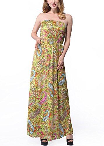Frauen-Vintages Boho-Blumendruck-trägerloses Schlauch-Maxi Kleid C0022