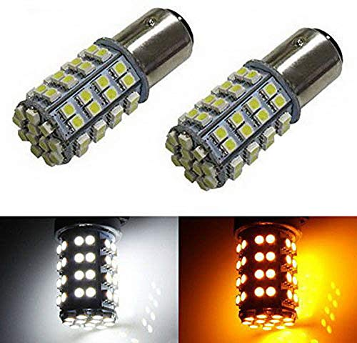 - iJDMTOY 60-SMD 1157 Dual-Color Switchback LED Bulbs For Front Turn Signal (60-White 60-Amber)