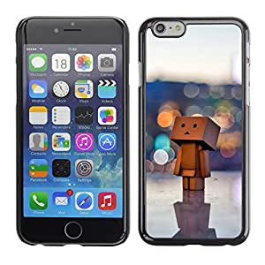 Qstar Arte & diseño plástico duro Fundas Cover Cubre Hard Case Cover para Apple (5.5 inches !!!) iPhone 6 Plus ( Toy 3D Figurine Art Big City Lonely Art Wood)